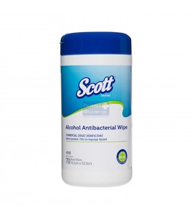 SCOTT Alcohol Antibacterial Wipers, 70pcs/canister