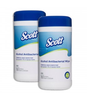 [Bundle Promotion]  SCOTT Alcohol Antibacterial Wipers, 70pcs/canister x 2 canisters