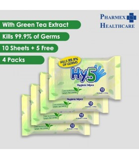 4 Packets of Hy-5 Hygienic Wipes, 15 Sheets/Pkt