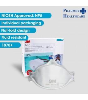 3M Aura N95 Healthcare Particulate Respirator,1870+, 20 Pcs/Box