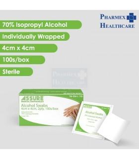 ASSURE Alcohol Swab, Sterile, 4cm x 4cm, 100 Pcs/Box