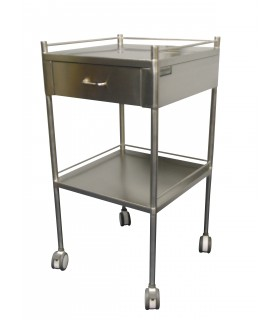 Stainless Steel Dressing Trolley with One Drawer, Per Unit