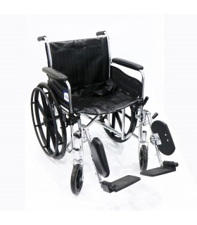 Wheelchair (Assure Rehab), Heavy Duty, Chrome, DAEF, PVC Upholstery, Per Unit, AR0126 | AR0127 | AR0128