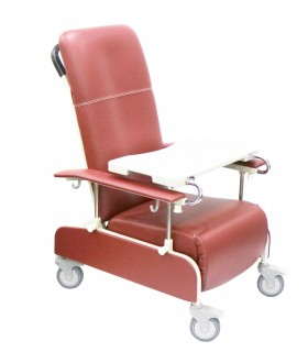 Geriatric Chair, Three Position Recliner (ASSURE Rehab), with Adjustable Armrest, Ruby Red, AR0558, Per Unit