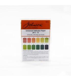Universal pH Indicator Test Papers (Johnson), pH 1 - 11, 10x20 Strips/Box